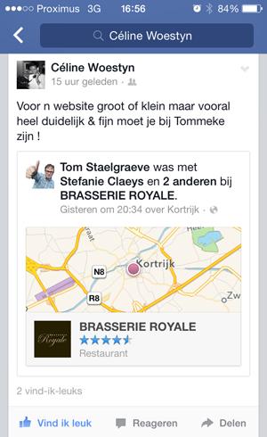 Facebook getuigenis Brasserie Royale