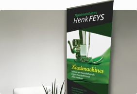 Roll-up banner Naaimachines Henk Feys