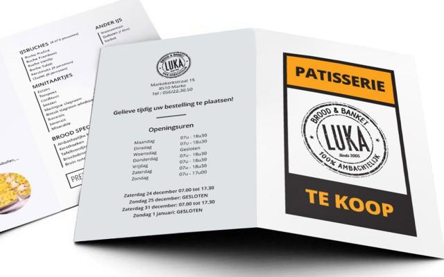 Eindejaarsfolder voor Bakkerij Luka uit Marke