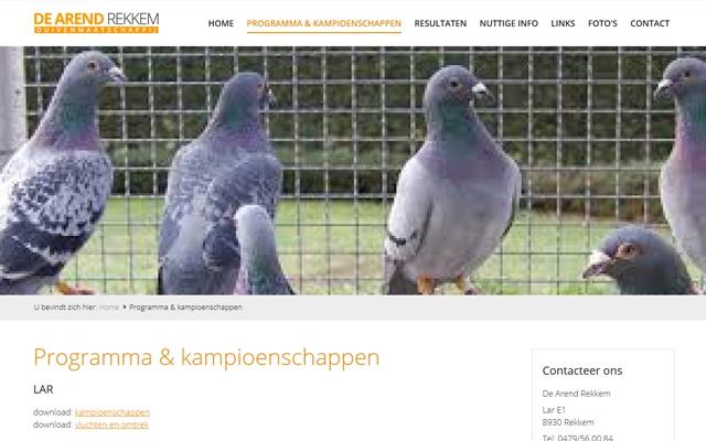Pro pakket website voor duivenvereniging De Arend uit Rekkem
