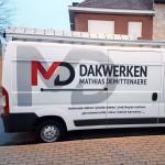 Belettering camionette dakwerken Matthias Demittenaere