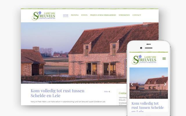 Website voor vakantiewoning Land van Streuvels uit Ingooigem