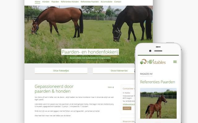 Pro pakket website voor Av Stables uit Izegem