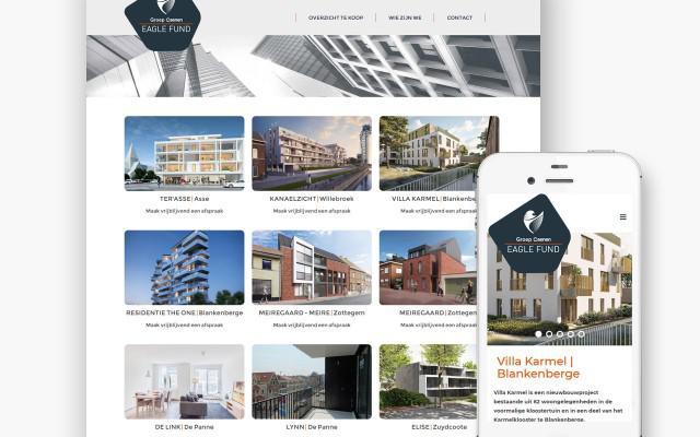 Immo projecten website Eagle Fund voor Groep Caenen