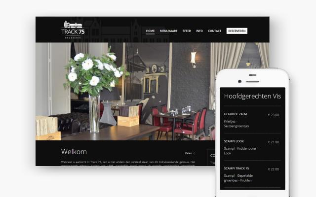 Professionele website voor Brasserie Track 75 uit Harelbeke